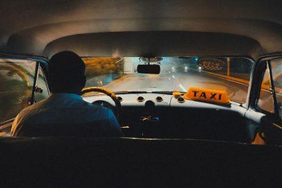 taxi driver at night