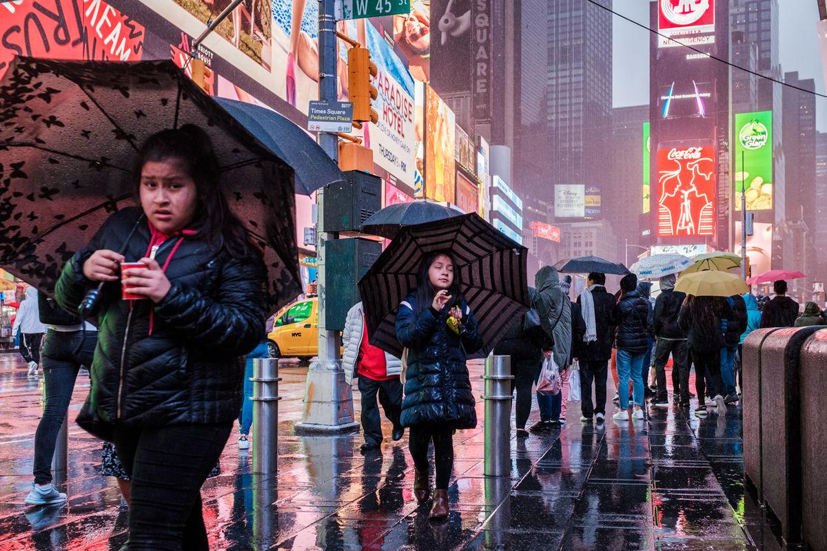 Let things happen child under rain