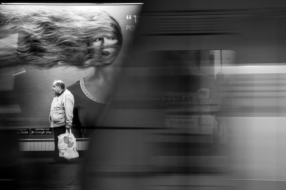 Subway black and white
